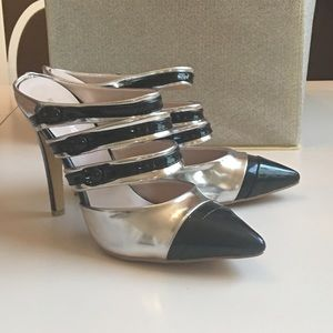 Shoes - Silver and Black Mules